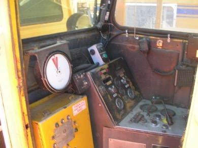 1993 Plasser 08-16B production tamper Inside front Cabin